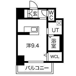 名古屋市営鶴舞線 大須観音駅 徒歩9分の賃貸マンション 7階ワンルームの間取り