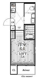 愛知県名古屋市北区杉栄町2丁目の賃貸アパートの間取り