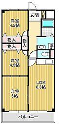 パピオツインタワー[4階]の間取り