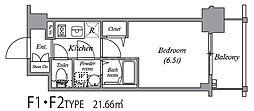 エスリード中之島ザ・コア 2階1Kの間取り