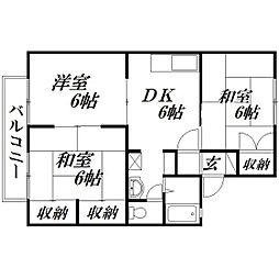 静岡県浜松市中区佐鳴台6丁目の賃貸アパートの間取り