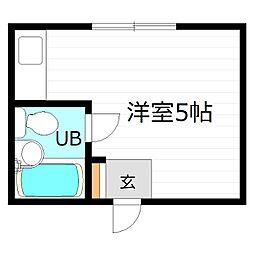 Osaka Metro谷町線 都島駅 徒歩5分の賃貸マンション 3階ワンルームの間取り
