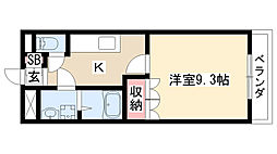 愛知県名古屋市緑区姥子山1丁目の賃貸アパートの間取り