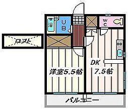東京都葛飾区西水元2丁目の賃貸アパートの間取り