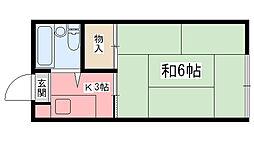 兵庫県姫路市神子岡前1丁目の賃貸アパートの間取り