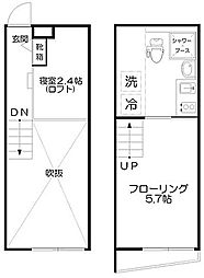 JR中央線 中野駅 徒歩9分の賃貸マンション 3階1Kの間取り