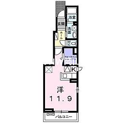 JR宇野線 備前西市駅 徒歩13分の賃貸アパート 1階ワンルームの間取り
