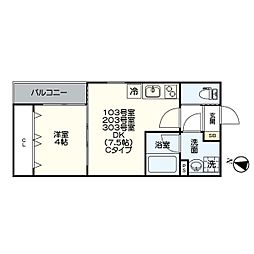 名古屋市営名港線 日比野駅 徒歩6分の賃貸アパート 2階1LDKの間取り