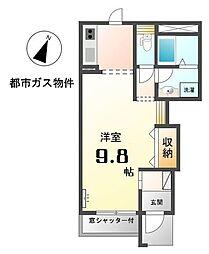 愛知県稲沢市下津鞍掛町の賃貸アパートの間取り