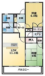 香川県三豊市高瀬町下勝間の賃貸アパートの間取り
