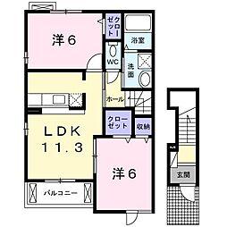 K・U・5[0201号室]の間取り