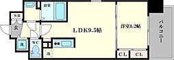 スワンズシティ大手前レーヴェ 14階1LDKの間取り