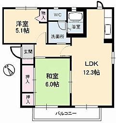 ローズタウン 2番館[1階]の間取り