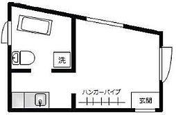 東急東横線 祐天寺駅 徒歩7分の賃貸マンション 2階ワンルームの間取り