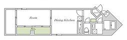 Osaka Metro谷町線 文の里駅 徒歩3分の賃貸マンション 1階1DKの間取り