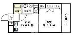 コスモス小倉駅前II 8階1DKの間取り