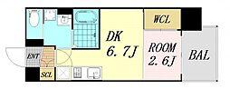 セレニテ谷九プリエ 4階1DKの間取り