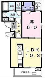 フレイデ 2階1LDKの間取り