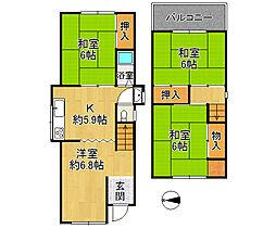 堺市東区日置荘西町 中古戸建 4DKの間取り