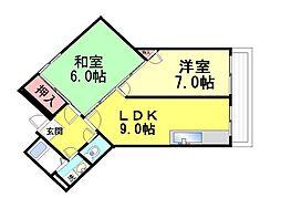 クロイツエルハウゼン六甲[2階]の間取り