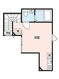 東武東上線 東武練馬駅 徒歩4分の賃貸アパート 2階ワンルームの間取り