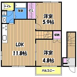 東京都国分寺市東元町1丁目の賃貸アパートの間取り