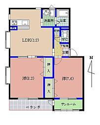 ペン・シャトー吉川[202号室]の間取り