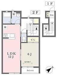 JR京浜東北・根岸線 港南台駅 徒歩17分の賃貸アパート 2階1LDKの間取り