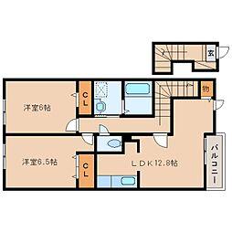 JR関西本線 王寺駅 バス10分 高塚台1丁目下車 徒歩5分の賃貸アパート 2階2LDKの間取り
