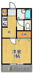プレミエール・キクII 2階1Kの間取り