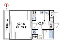 スリーベルマンションII[402号室]の間取り