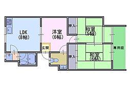 第二大北マンション[1階]の間取り