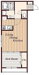 関町東新築マンション 4階1LDKの間取り