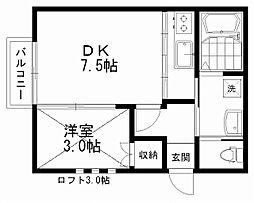 フローリアン松波 2階1DKの間取り