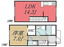 JR内房線 八幡宿駅 徒歩4分の賃貸タウンハウス 1階1LDKの間取り