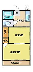 埼玉県さいたま市中央区下落合6の賃貸アパートの間取り