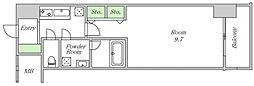 Osaka Metro堺筋線 北浜駅 徒歩7分の賃貸マンション 6階1Kの間取り