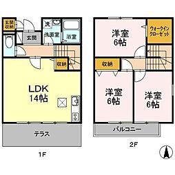 神奈川県相模原市緑区久保沢3丁目の賃貸アパートの間取り