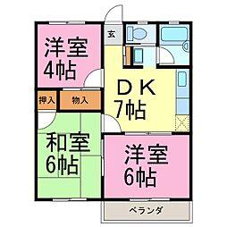 愛知県常滑市字脇田口の賃貸アパートの間取り