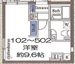 東京メトロ東西線 木場駅 徒歩8分の賃貸マンション 3階ワンルームの間取り