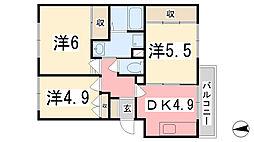 兵庫県姫路市飾磨区構1丁目の賃貸マンションの間取り