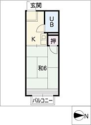 ハイツセイントフォー[1階]の間取り