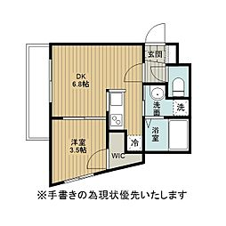 アレックス野幌II 2階1DKの間取り