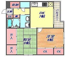 兵庫県神戸市東灘区御影中町2丁目の賃貸マンションの間取り