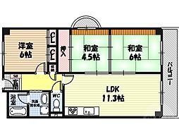ハイム関目 4階3LDKの間取り