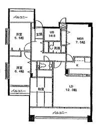 チェリーマンション高宮[2階]の間取り