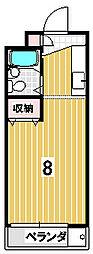 プリオールメゾンAOKI 2階1Kの間取り