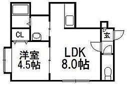 アプレシアール札幌ドス[201号室]の間取り
