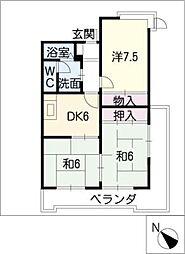 ハイツ塚本[4階]の間取り