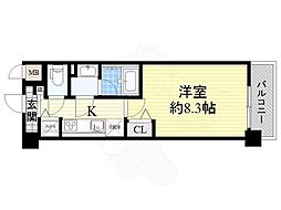 Osaka Metro御堂筋線 なかもず駅 徒歩5分の賃貸マンション 2階1Kの間取り